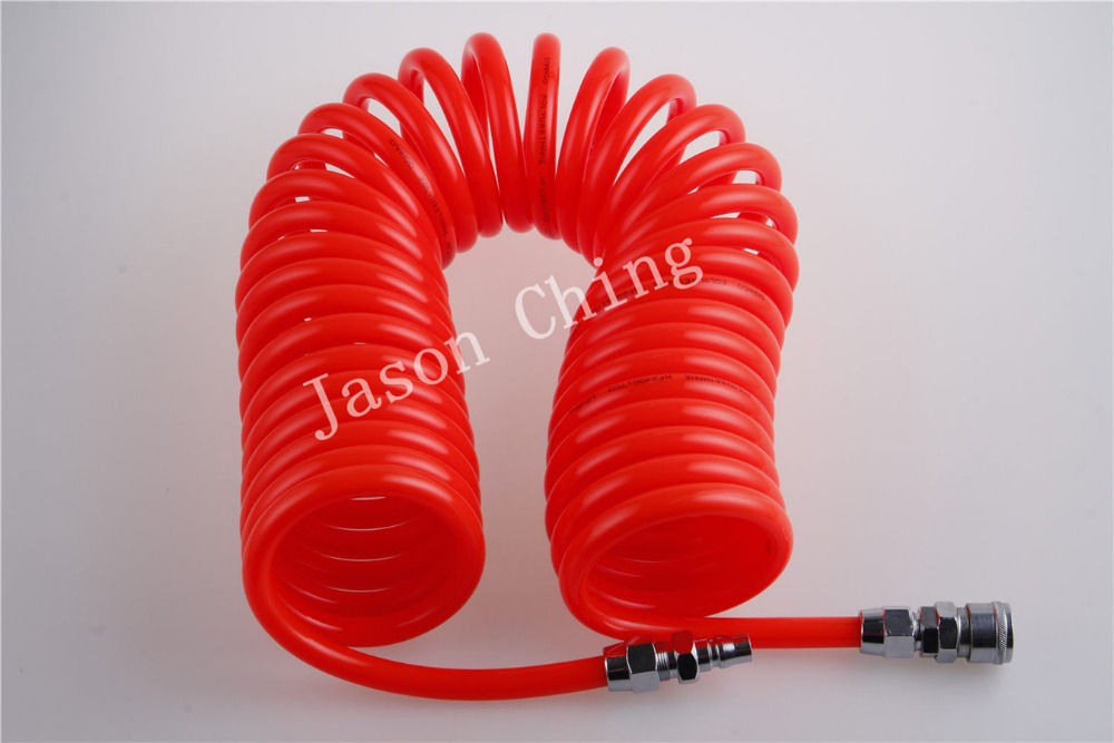 6m Polyurethane Recoil Air Hose 12mmx 8mm Fitting Air Compressor Pipe Tool