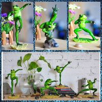 Free Shipping Baby Big Frog Family Figures Resin Toy Bruce Chinese Kungfu Cake Home Gym Office
