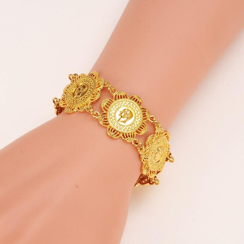 Bangrui Новый Мода Монета браслет для Для женщин, монеты браслет золотой Цвет ювелирные изделия Эфиопии/Африка/Арабских Подарки
