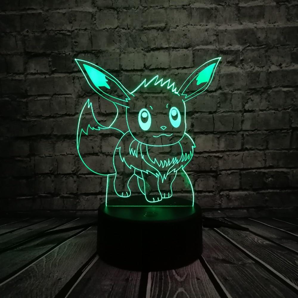 حار بيع اليابانية الكرتون 3d usb بقيادة مصباح البوكيمون الذهاب لعبة الشكل eevee للاهتمام ملون الاكريليك اللوحي ليلة الخفيفة للأطفال اللعب