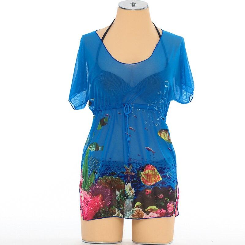 Собирает талии Шифон Бикини Wrap Платье Cover Up Прозрачный U-образным вырезом Блудниц Пляж Блузка Неон Sheer Cover-ибп одежда для Пляжа