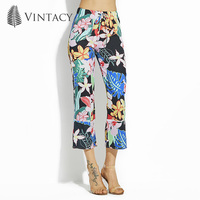 Vintacy Plus Size Green Women Pants Floral Loose Bottoms Wide Legs Vacation Office Pants Female Girls