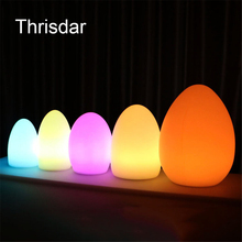 Thrisdar USB Rechargeable 16 Color Egg Shape Led Night Lamps IP68 Outdoor RGB Led Bar KTV Table Lamp With Remote Control