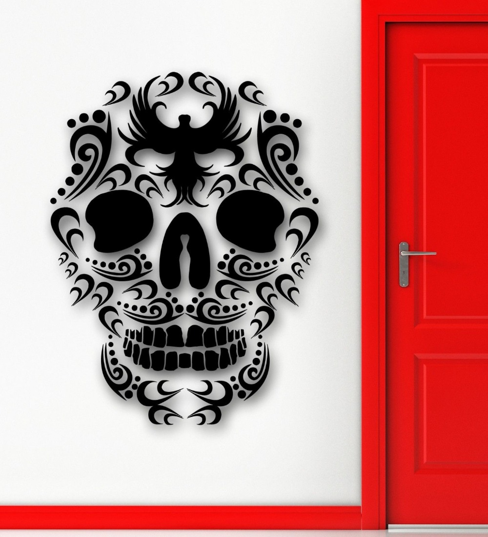 compare prices on art room designs online shopping buy low price cool tribal tattoo wall sticker vinyl art design sugar skull death wall mural home room art
