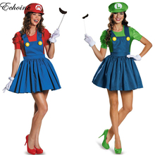 Echoine 2017 New Women Funy Cosplay Costume Super Mario Luigi Brothers Plumber Girls Fancy Dress Up Party Costume with Hat