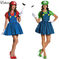 2016 New Women Funy Cosplay Costume Super Mario Luigi Brothers Plumber Fancy Dress Up Party Costume