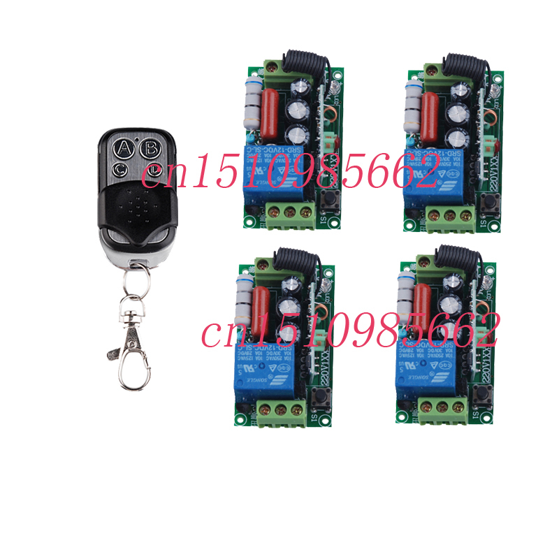 220V 1CH Wireless Remote Control Switch for Light Lamp LED SMD ON OFF 4 Receiver & 1 Transmitter Momentary Toggle Latched 315 433mhz 12v 2ch remote control light on off switch 3transmitter 1receiver momentary toggle latched with relay indicator
