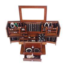 Large wood jewelry box Princess European style retro multifunctional cosmetic box wedding gift storage box makeup organizer case