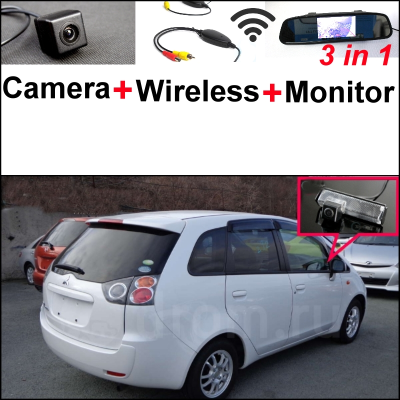 Mirror Monitor DIY Parking System + 3 in1 Special Camera + Wireless Receiver For Mitsubishi ASX RVR Outlander Sport 2010~2015 wireless pager system 433 92mhz wireless restaurant table buzzer with monitor and watch receiver 3 display 42 call button