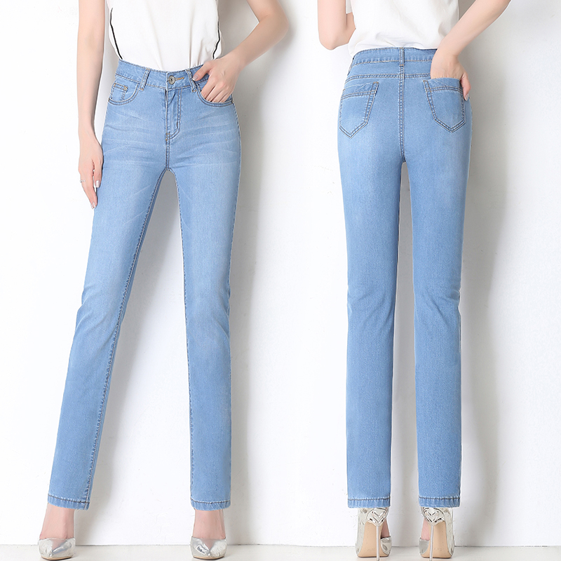 2019 Brand Elastic Skinny Pants Women High Waist Straight Jeans Female Washed Soft Plus Size Office Lady Trousers Light Blue