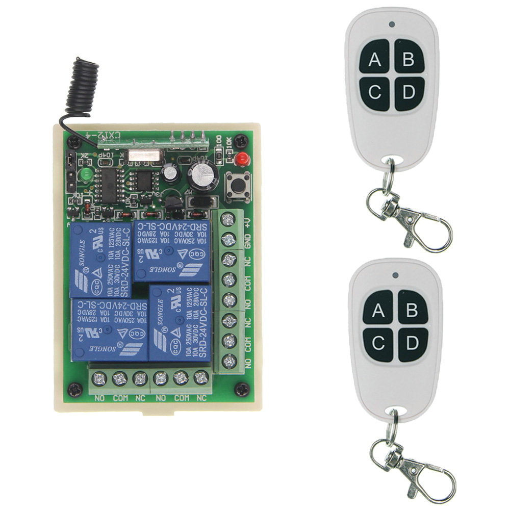 315 433.92 MHz Universal Wireless Remote Control Switch DC 12V 24V 4CH Relay Receiver Module RF Remote Transmitter dc 12v led display digital delay timer control switch module plc automation new