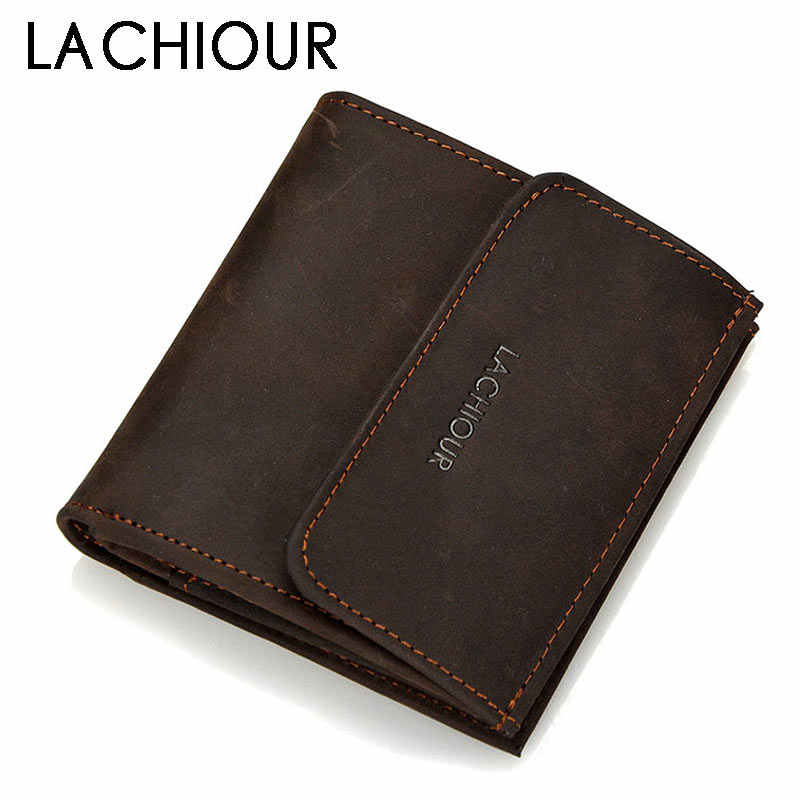 Functional Crazy Horse Leather Wallet Men Hasp Pocket Carry Mini Card Holder Male Coin Purse Wallet Genuine Short Design Wallet