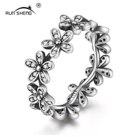 RUNSHENG New Romantic Flowers Crystal Inlaid Ring Silver 925 Personality Trendy Top Quality Women Rings Wedding