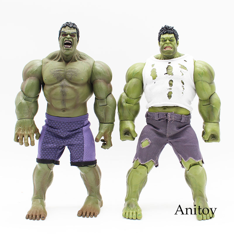Marvel Super Hero Series Hulk The Avengers Hulk Real Clothes Ver. PVC Action Figure Collectible Model Toy KT3603 movie super hero the hulk pvc action figure toy 25cm red hulk green hulk figures toys free shipping