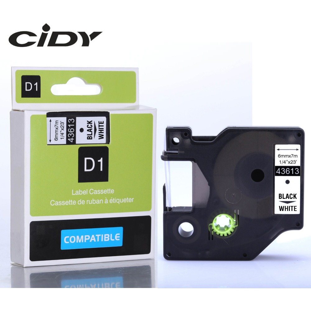 CIDY 1pcs Compatible Dymo D1 6mm Label Tape 43613 Black on White Label Ribbons for Dymo Label Manager 160 280 210CIDY 1pcs Compatible Dymo D1 6mm Label Tape 43613 Black on White Label Ribbons for Dymo Label Manager 160 280 210