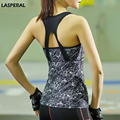 LASPERAL Women Cropped Tops Sleeveless Hollow Workout Vest Quick Dry Shirts Grey Marble Elastic Women Fitness Padded Tank Tops