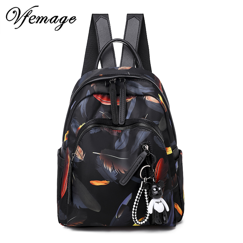 Vfemage 2019 New Fashion Women Backpacks Small Waterproof Oxford Backpack Female Cute Schoolbags For Girls Bagpack Mochils Mujer