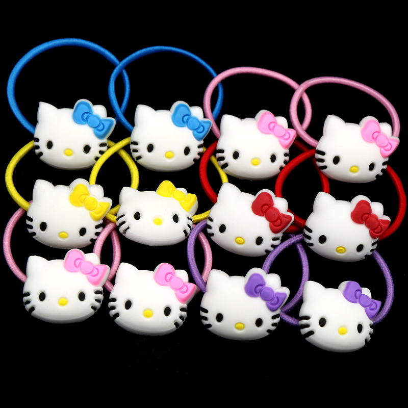 12PCS Hello Kitty Elastic Hair Bands Hairpins Girls Ponytail Holder Rubber Bands Cute Hair Ties Gum Rezinochek Hair Accessories