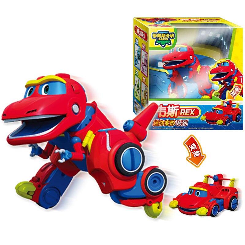 Más Min Gogo Dino ABS coche deformación/avión figuras de acción REX/PING/VIKI/TOMO transformación dinosaurio juguetes para niños de regalo