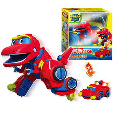 Nejnovější Min Gogo Dino ABS Deformace Auto / Letadlo Akce Čísla REX / PING / VIKI / TOMO Transformace Dinosaurské hračky pro Děti Dárky