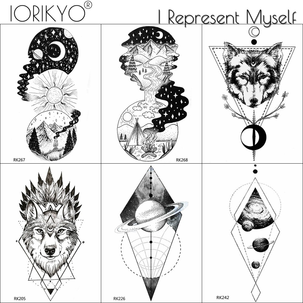 Us 041 10 Offwaterproof Round Style Fake Black Diamond Tattoo For Women Men Moon Wolf Arm Temporary Tattoos Stickers Comping Body Art Tatoo In