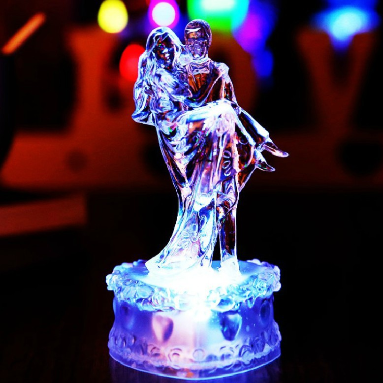 2017 New Acrylic Bride And Groom Wedding Cake Topper Colorful Crystal Led Decorations Birthday Christmas Gift In Decorating Supplies From Home