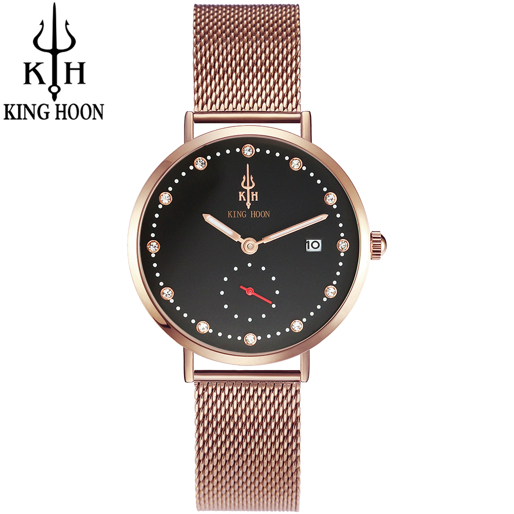 Watches Women Luxury Brand Watch KING HOON Quartz Wristwatches Fashion Sport Full Steel Dive 30m Casual Watch relogio feminino skmei 9069 men quartz watch men full steel wristwatches dive 30m fashion sport watch relogio masculino 2016 luxury brand watches