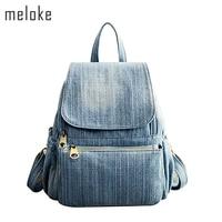 Meloke 2018 high quality Vintage Washed Denim Backpack Multifunctional Travel Bag for girls school bags 6 styes Mochila Bolsa