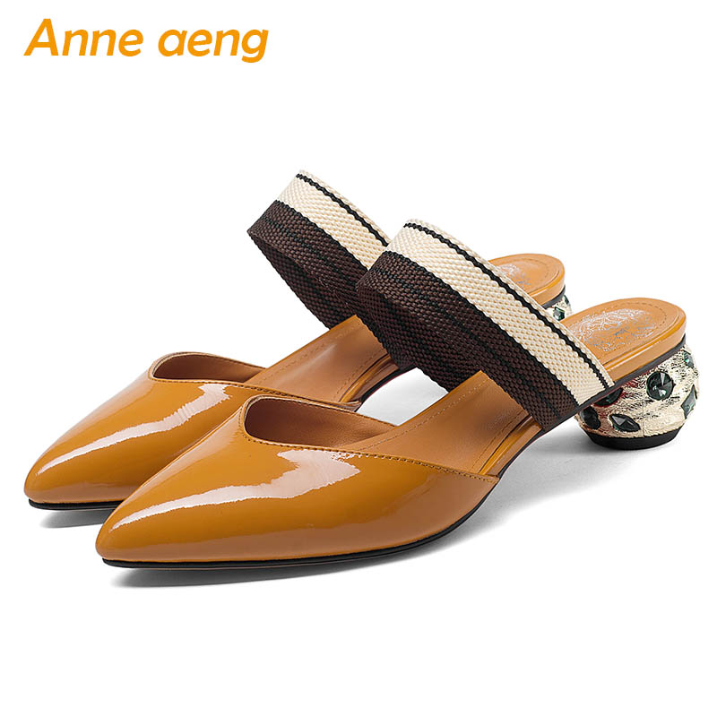 2019 New Summer Genuine Leather Outside Women Slippers Crystal Middle Heel Pointed Toe Sexy Ladies Women