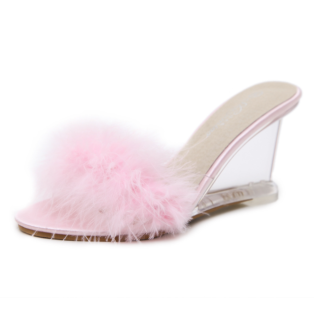 PVC Jelly Sandals Transparent Peep Toe Sandals Fashion Shallow Summer Women Shoes High Heels Clear Wedge Sandals With Fur Decor