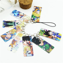Dragon Ball Photo Pvc Card String Keychain 8 pcs Cards/string Women Bag Accessories