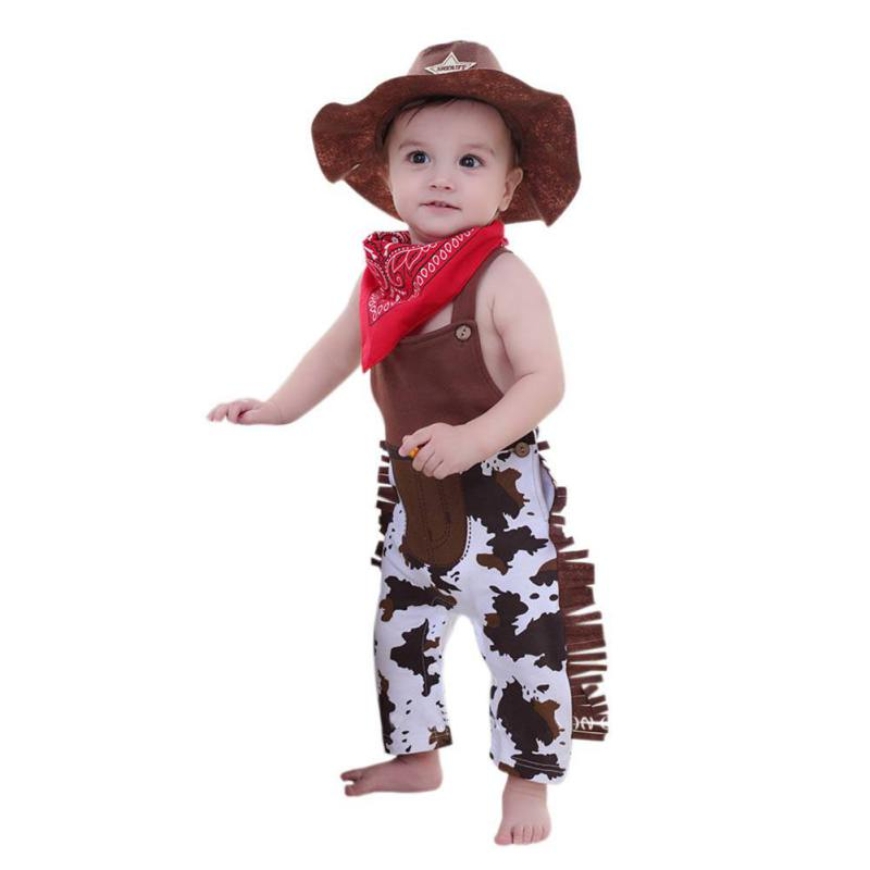 3pcs Baby Cowboy Romper Costume Infant Toddler Boy Girl Clothing Set Hat +Scarf +Romper Birthday Outfits