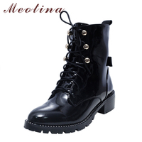 Meotina Motorcycle Boots Women Brand Designer Martin Boots Rivets Chunky Heel Lace Up Ankle Boots Natural