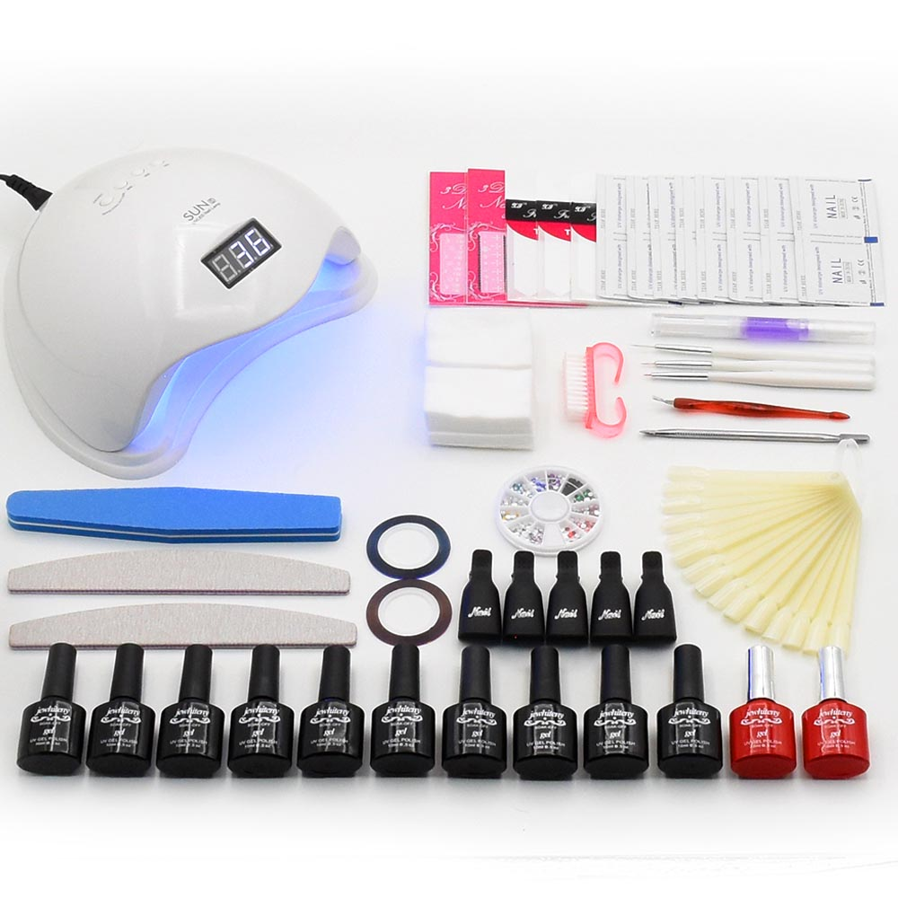 10 colors Nail Gel Polish Nail Set Soak Off UV Gel Polish Kit UV Lamp Manicure Sets LED Nail Dryer Nail Art Manicure Tools Kit