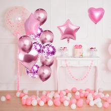 PATIMATE Multi Confetti Foil Balloon Heart Star Birthday Party Decorations Kids Wedding Decoration Supplies