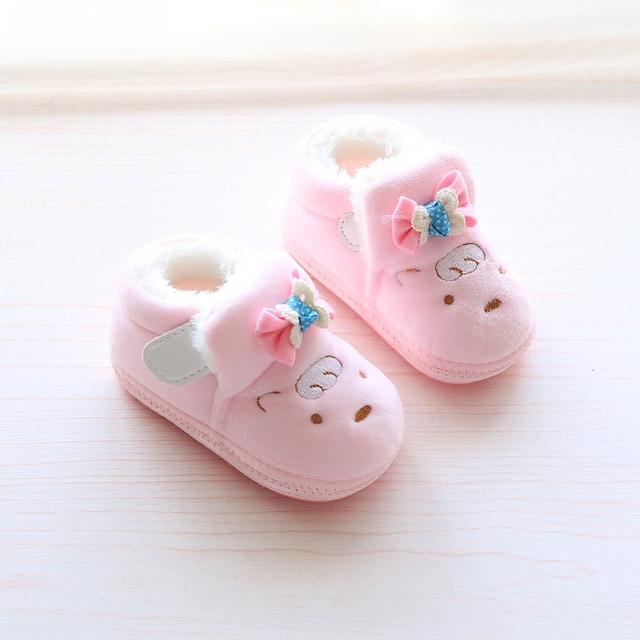 2016 1 zapatos de bebé de invierno cálido zapatos cómodos niño, además de terciopelo de algodón acolchado zapatos 0-6-12 meses de edad