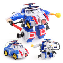 4pcs/set boy poli Robocar Transformation Robot Car Toy Korea Poli Anime Action Figure Toys For Children Gift Playmobil
