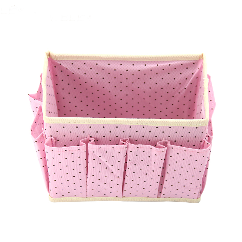 Washable Makeup Organizer with Cute Dots Design and Storage Bins made of Non Woven to Organize Beauty Essentials Neatly in Place 3