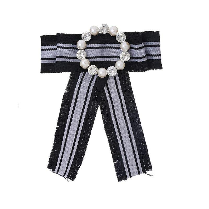 Fliege Damen Binden Kragen Blume Strass Band Shirt Brosche Quaste Doppel Nachahmung Perle Bogen SorgfäLtige FäRbeprozesse