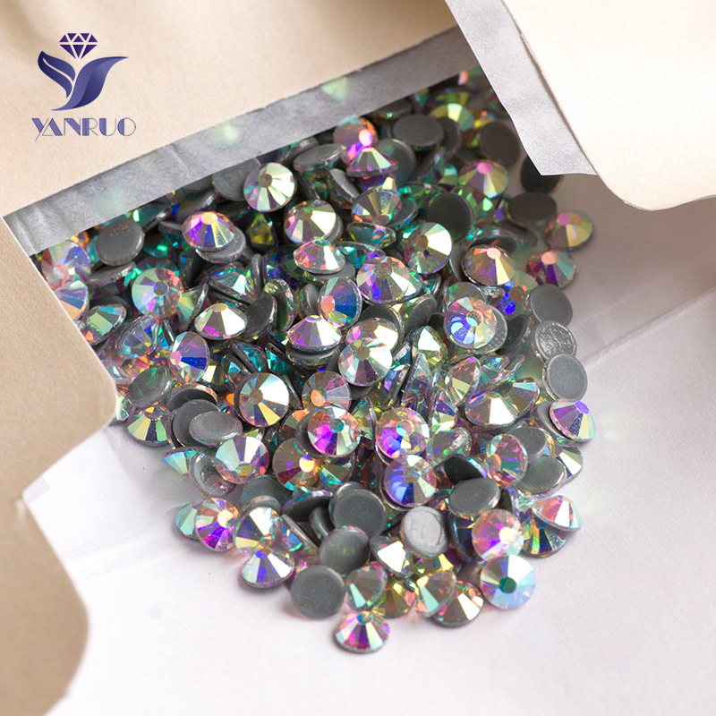 YANRUO 2058HF AB HotFix Rhinestones FlatBack Rhinestones Thermal Adhesive Hot Fix Crystal Stones For Clothes