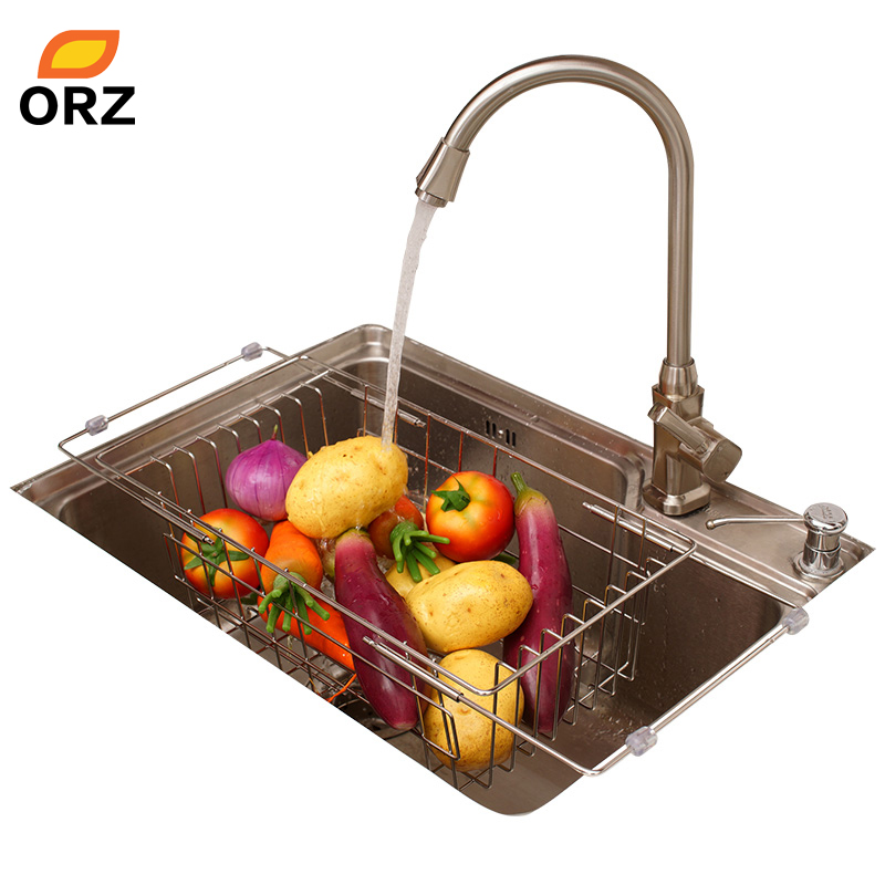 ORZ Kitchen Fruits Vegetables Draining Rack Stainless Steel Adjustable In Sink Dish Bowl Drainer Drying Basket Storage Tray