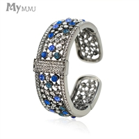 Mymumu Fashion Bracelets Glitter Crystal Rhinestone Beads Hollow Out Bangles For Women Femme Jewelry Wide Bangles