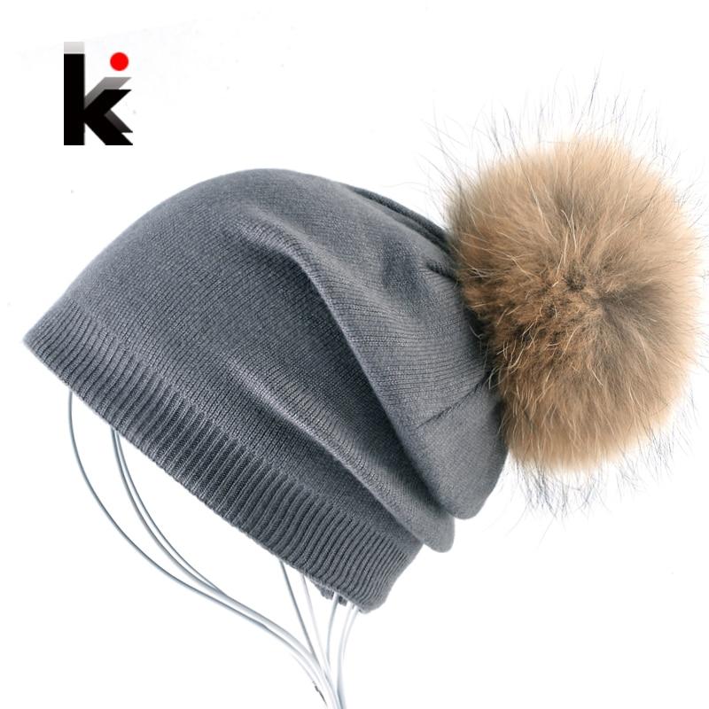 Autumn And Winter Ladies Knitted Wool Bonnet Beanie Hat Women Real Fur Big Ball PomPom Solid Skullies Caps Girls Touca Feminina