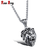Wholesale 2017 Man Silver Golden Stainless Steel Lion Head Pendant Necklace Chokers Punk Rock Men Jewelry