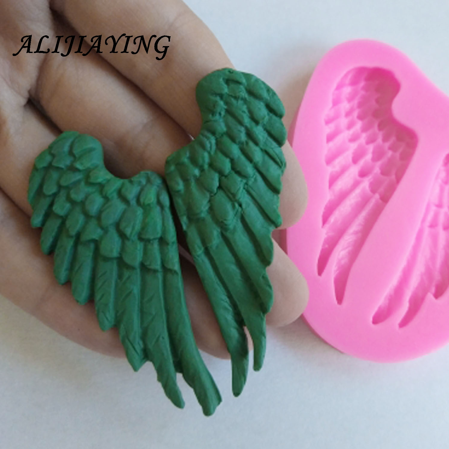 1Pcs Baby <font><b>Angel</b></font> <font><b>Wings</b></font> <font><b>Silicone</b></font> <font><b>Mold</b></font> Fondant Cake Decorating Tools Sugarcraft Chocolate Candy Clay Mould Cupcake <font><b>Mold</b></font> D0227 image