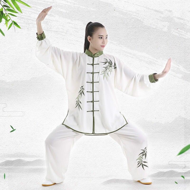 Тай Чи униформа для взрослых Одежда для боевых СТВ с длинным рукавом вышивка тхэквондо костюм для кунг фу в китайском стиле Утренние упражнения костюмы|Наборы| | АлиЭкспресс