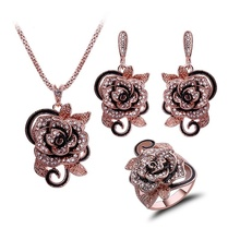 2017Fashion Jewellery Set Crystal And Enamel Gold Color Flower Jewelry Sets For Women Trendy Wedding Birthday Party Gift