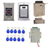קורא כרטיסי RFID דלת מערכת בקרת הגישה קיט + מתכת NoTouch מתג + אספקת חשמל בקרת גישה