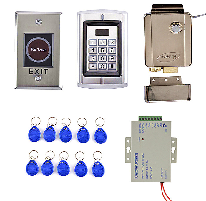 RFID Card Reader Access Control System Kit +Metal NoTouch Door Switch +Access Control Power Supply weigand reader door access control without software 125khz rfid card metal access control reader with 180 280kg magnetic lock