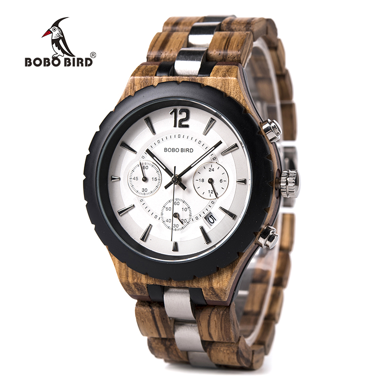 BOBO BIRD Relogio Masculino Luxury Brand Military Watch Quartz Date Wristwatch Wood Chronograph Timepiece Gift For Father J-R22